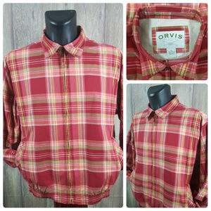 Orvis Men's XL Full Zip Jacket Red Coral Plaid